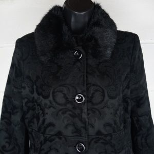 Giacca Trench Coat Women Size S Black Paisley